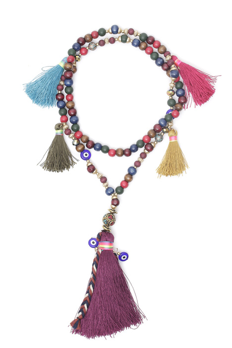Multicoloured wood necklace Diffusione Tessile