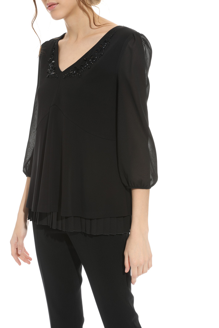 Embroidered jersey blouse Intrend