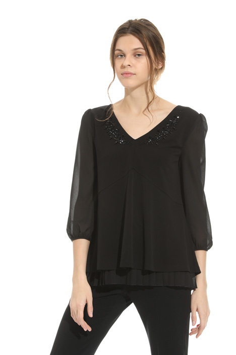 Embroidered jersey blouse Diffusione Tessile