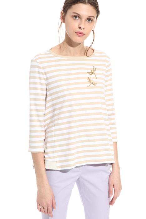 T-shirt in cotone con ricamo Diffusione Tessile