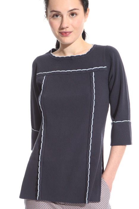 Scalloped trim tunic Intrend