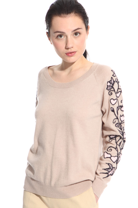 Embroidered wool blend sweater Intrend
