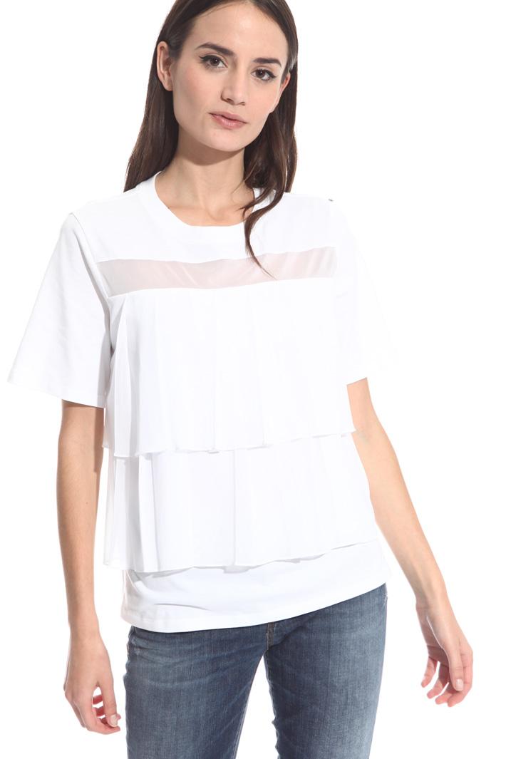 T-shirt con balze trasparenti Intrend