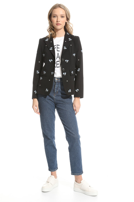 Embroidered canvas blazer Intrend