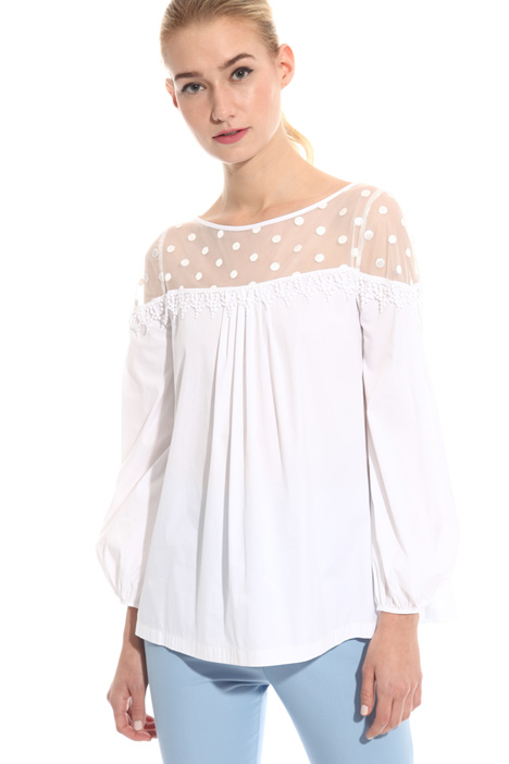 Tulle and poplin blouse Intrend