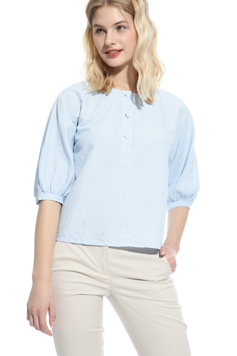 Blusa in chambray di lino Intrend