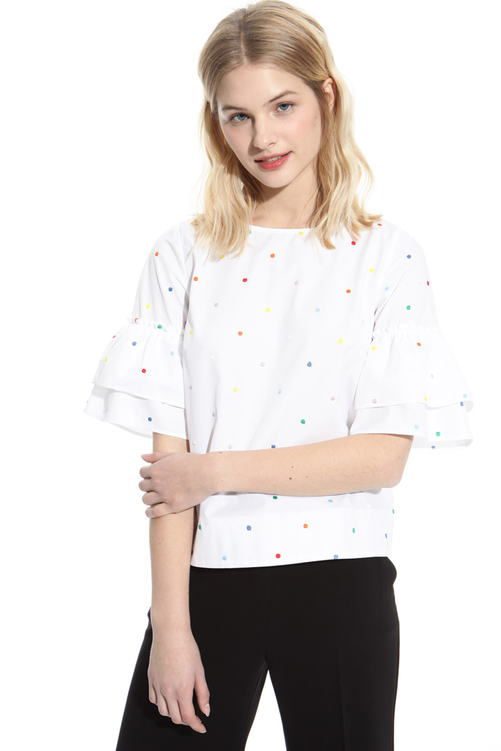 Polka dot embroidery top Intrend