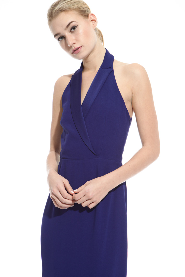 Envers satin dress with lapel Intrend