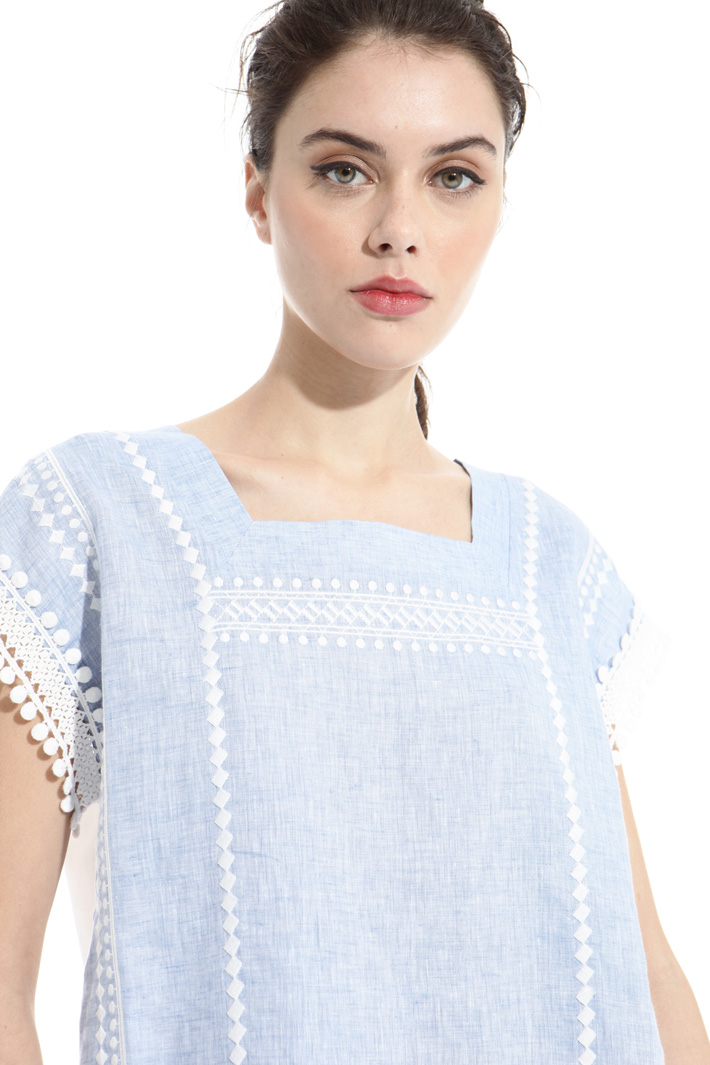 Linen and jersey top Intrend