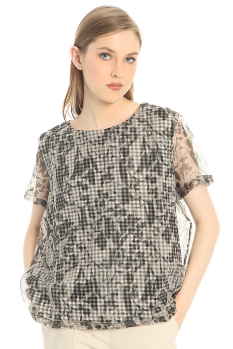 Top in organza e jersey Intrend
