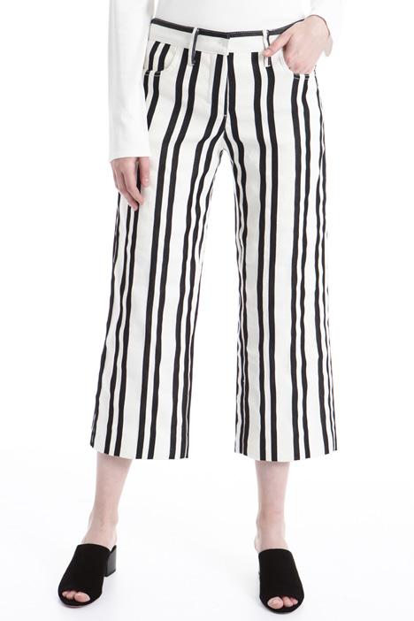 Pantalone in misto lino rigato Intrend