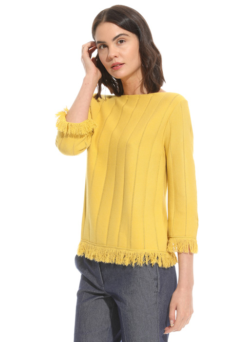 Fringed perforated sweater Intrend