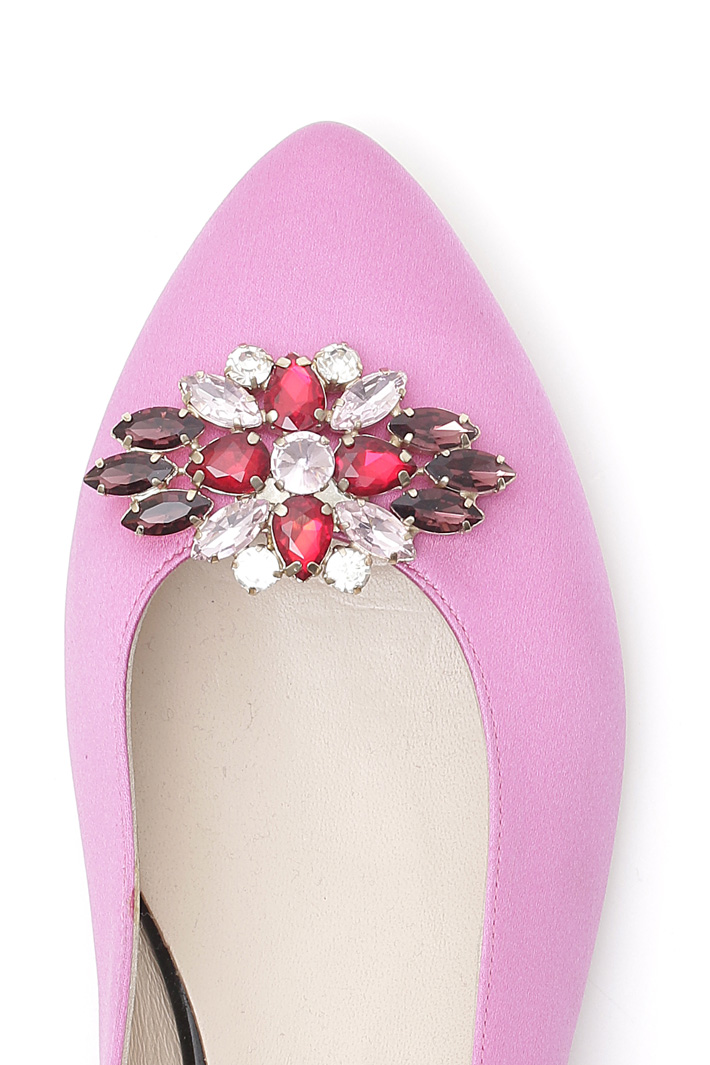 Satin ballerinas with appliqué Diffusione Tessile