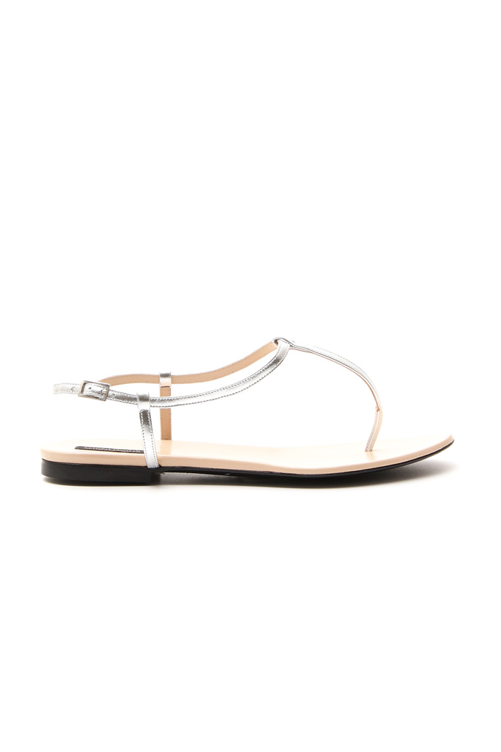 Metallised leather sandals Intrend