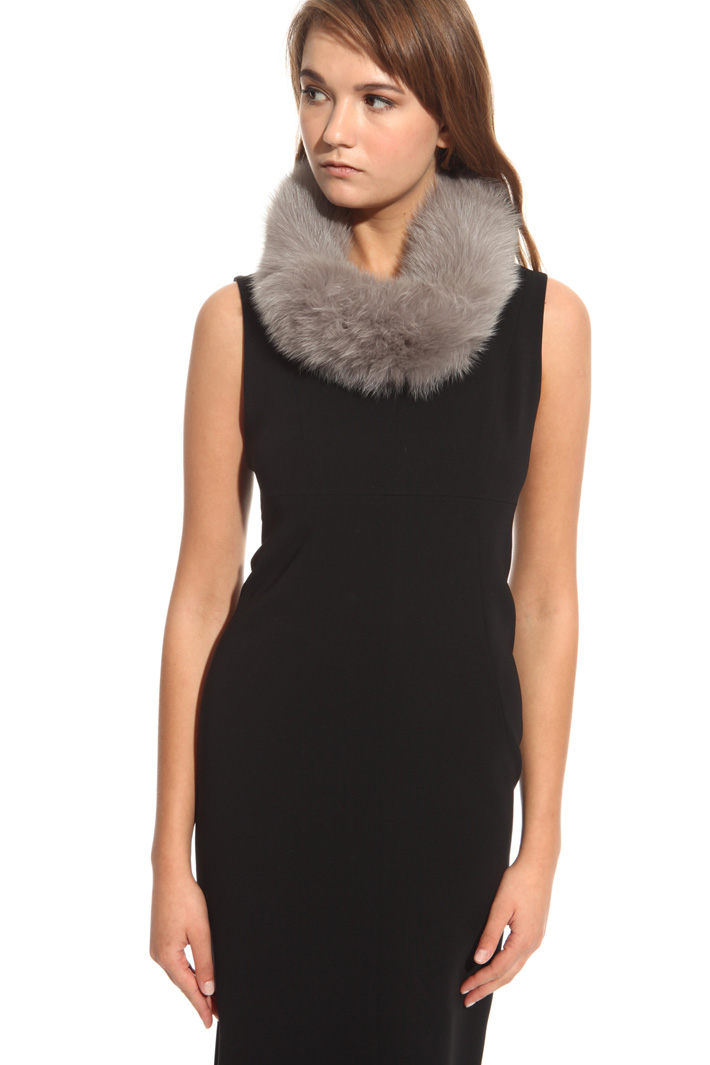 Coat fox fur collar  Intrend