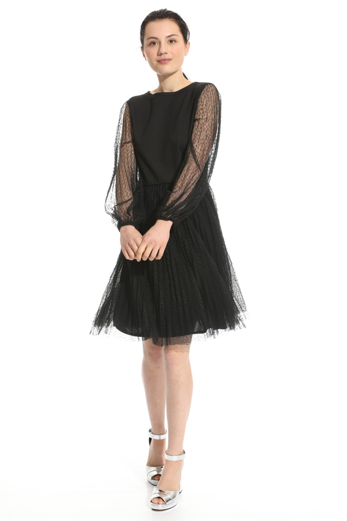 Pleated dress in tulle Intrend