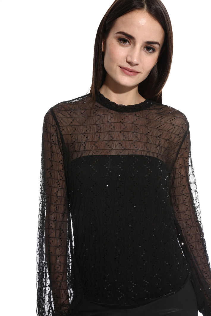 Top in tulle con paillettes Intrend