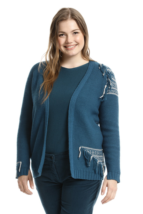 Cardigan in lana con frange Intrend