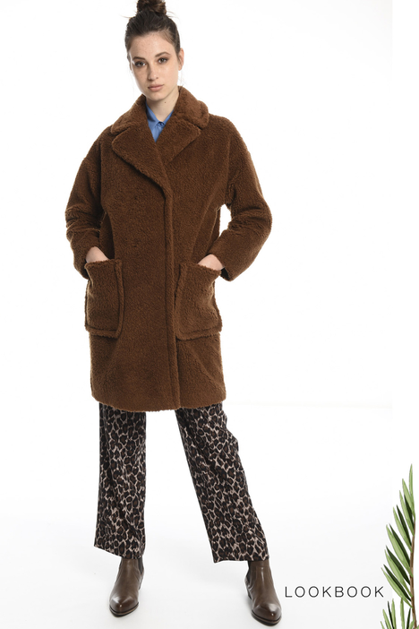 Fur-effect wool coat Intrend