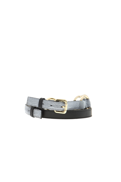 Leather and calf hair belt Intrend