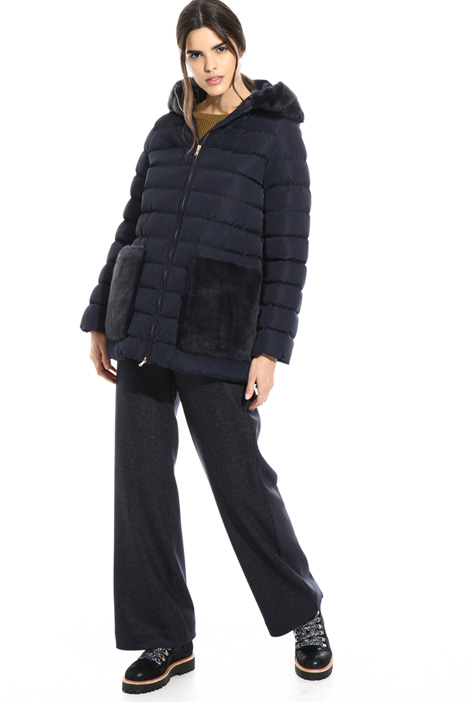 Puffer jacket with fur pockets Intrend