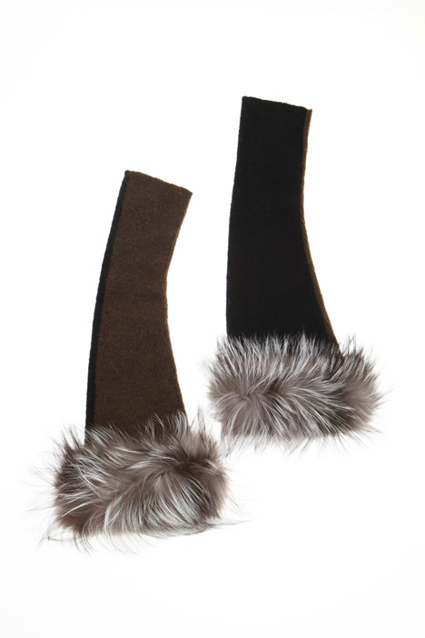 Gloves with bow fur cuffs Intrend