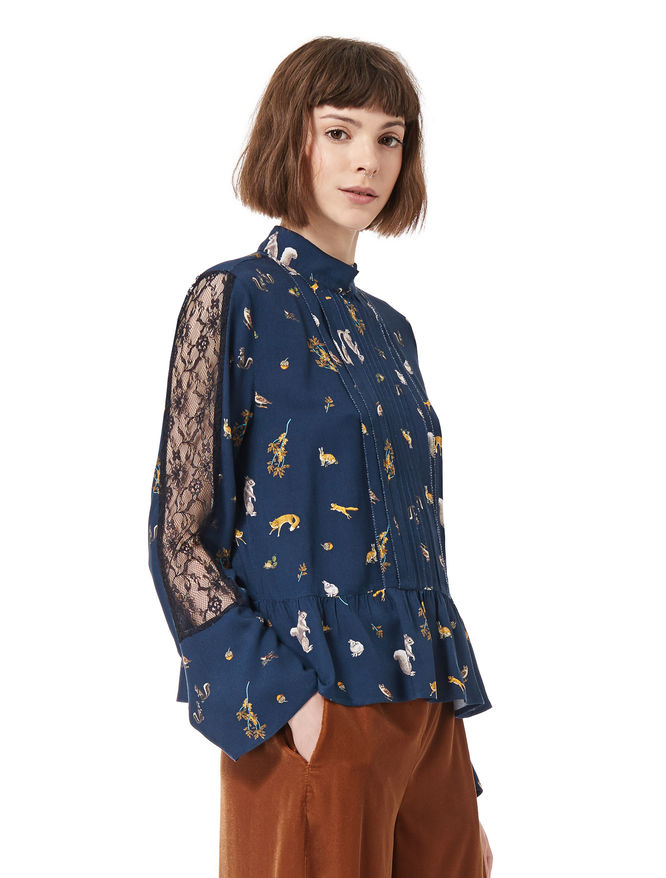 Shirt in crêpe and lace iBlues