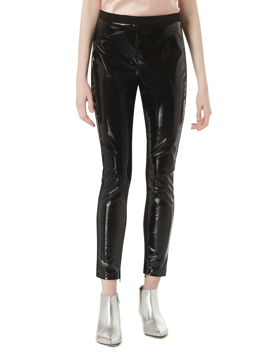 Patent leather-effect trousers