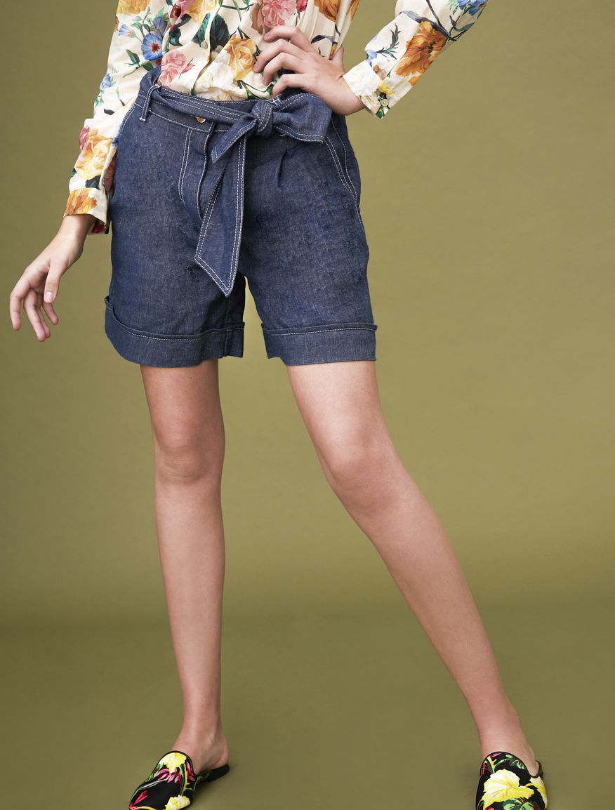 Denim-effect shorts