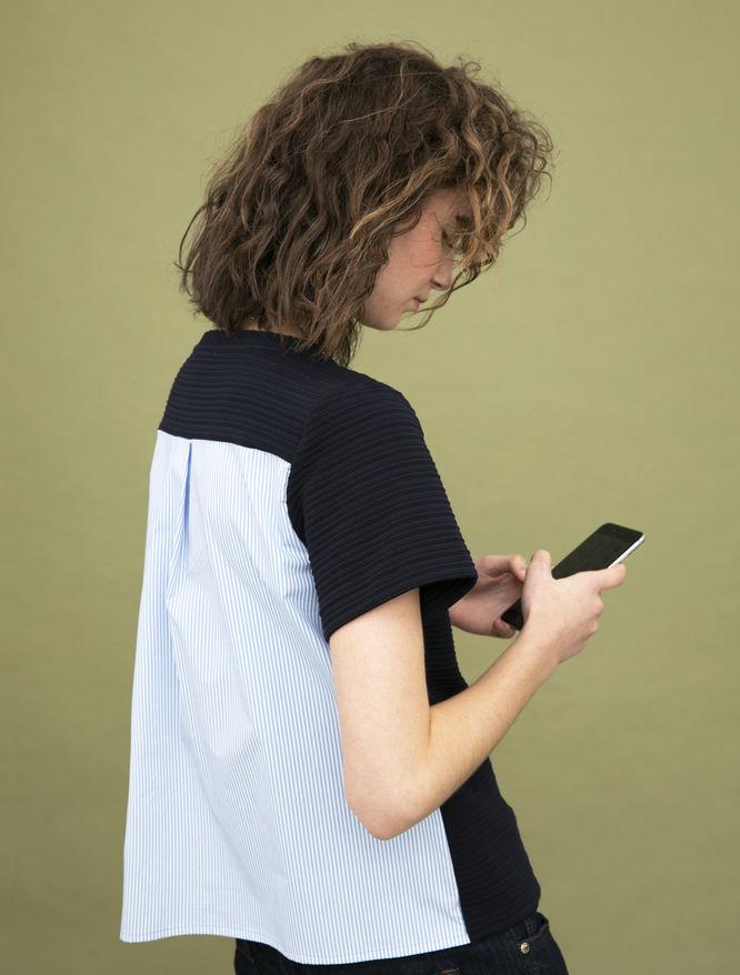 Dual-material T-shirt iBlues