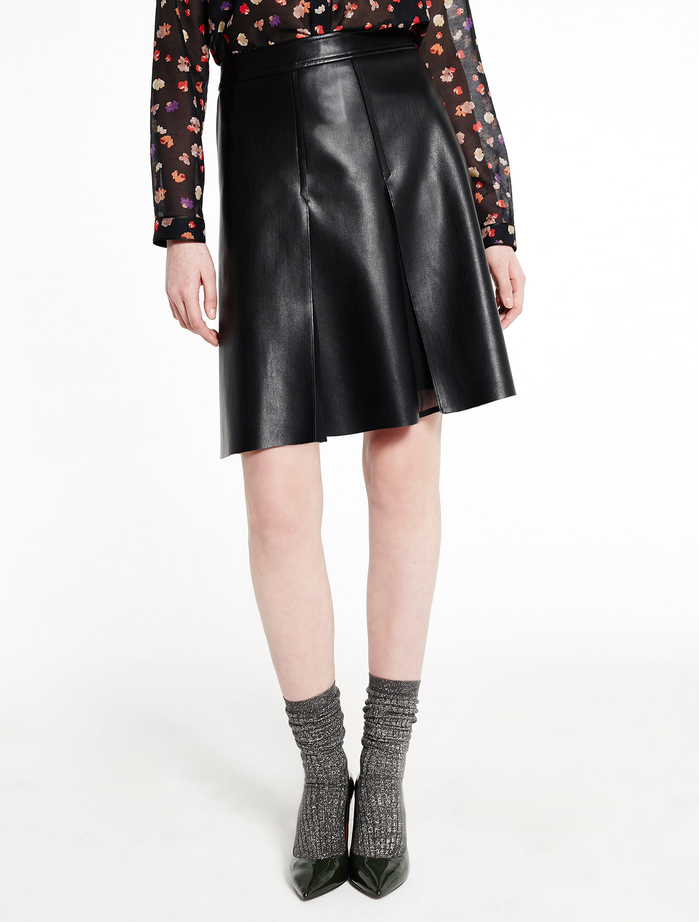 imitation leather skirt black marella