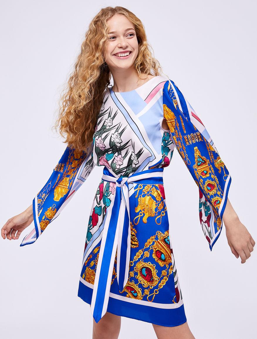 Vestido estampado pañuelo Marella