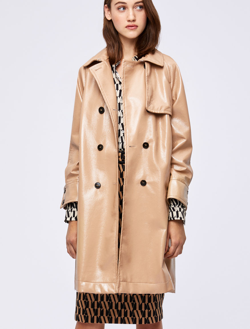 Patent leather-effect trench coat Marella
