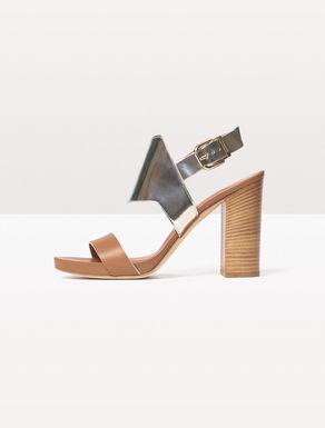 Sandali di pelle con tacco a colonna