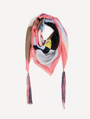Foulard di seta stampata con nappine