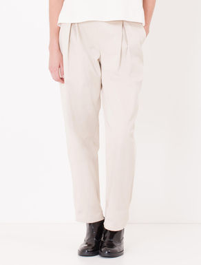 Pantaloni wide fit in drill di cotone
