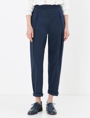 Pantaloni wide fit in drill di cotone