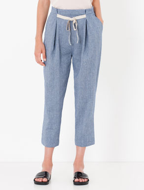 Pantaloni carrot fit di cotone/lino