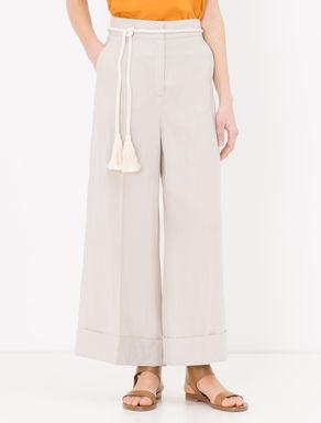 Pantaloni cropped wide fit di canvas