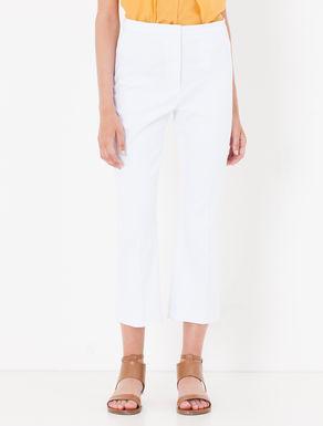 Pantaloni cropped flare fit di piqué