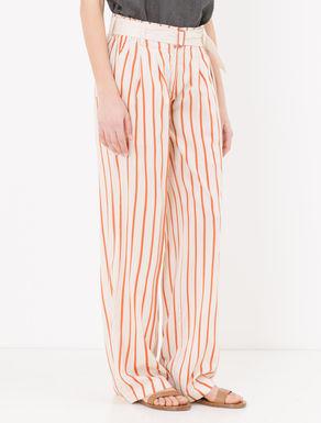 Pantaloni wide fit di twill a righe