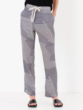 Pantaloni in raso di seta stampato
