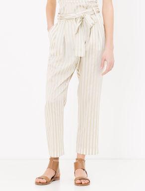 Pantaloni di tela con righe in raso