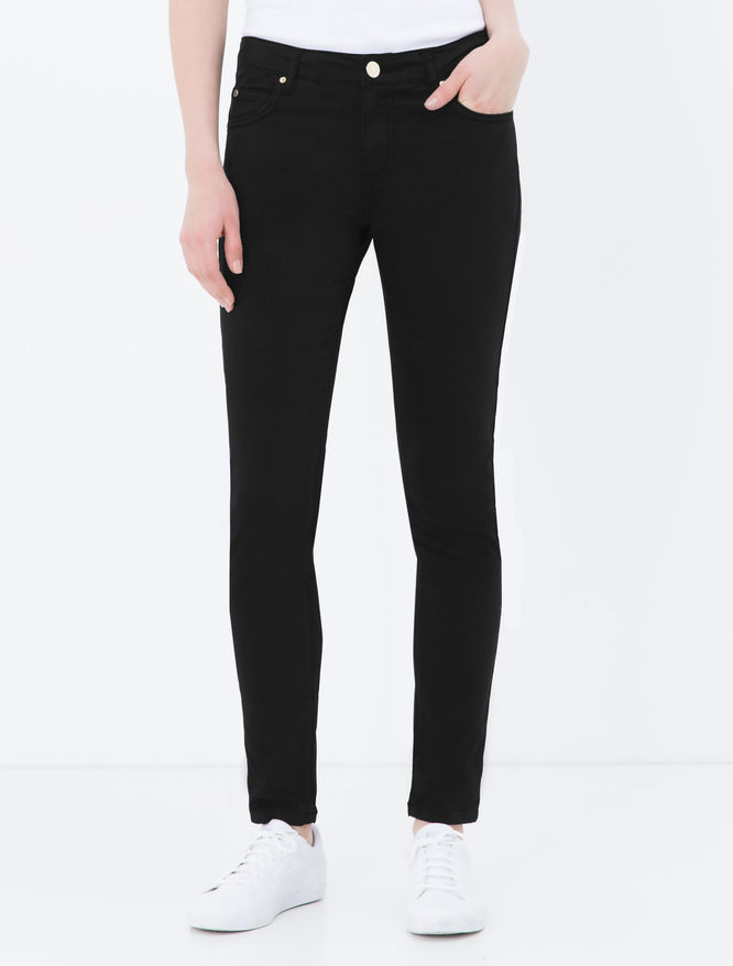 Skinny-fit cotton satin trousers