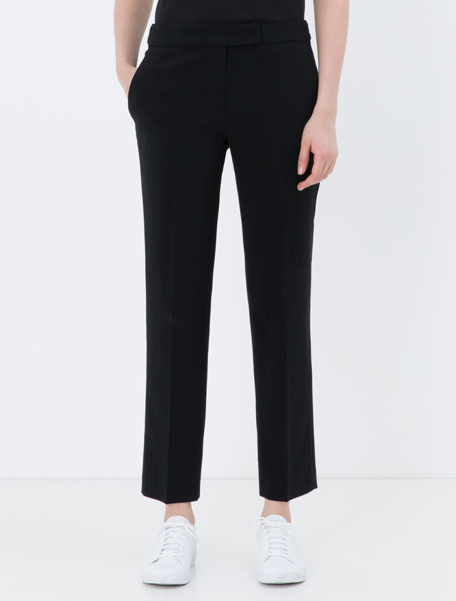 Slim-fit fluid fabric trousers