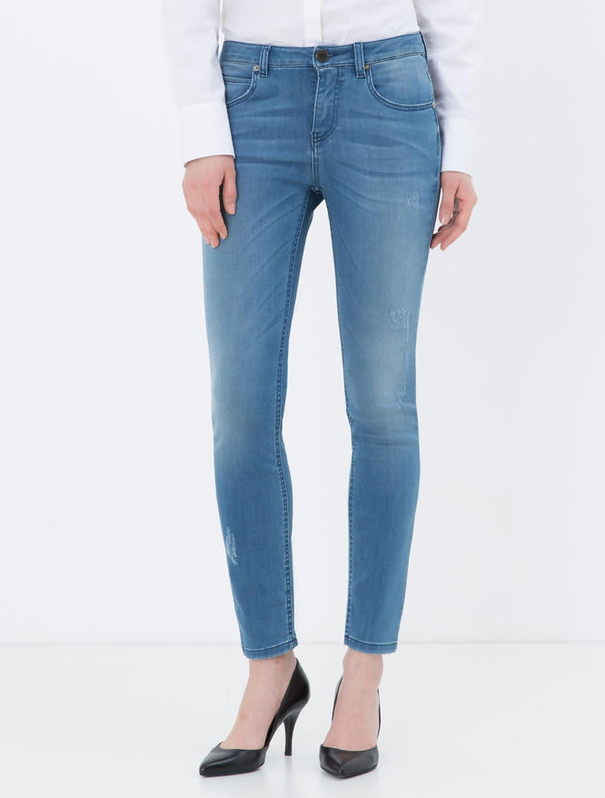 Skinny-fit light stone-washed jeans