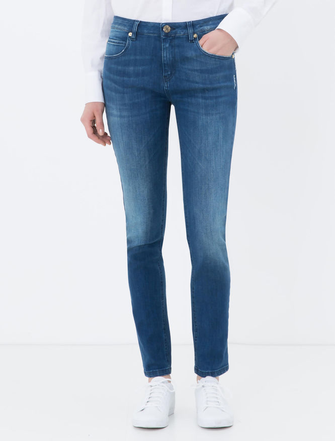 Skinny-fit medium stone-washed jeans