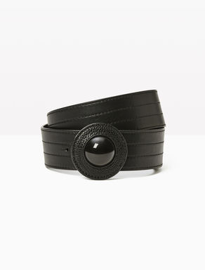 Leather belt with beading