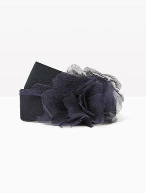 Stretch belt with silk flower