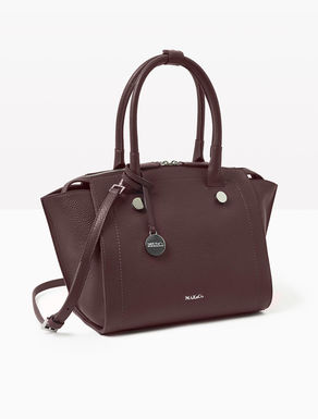 Leather trapeze tote bag